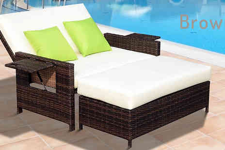 Mhstar - Two Seater Recliner Rattan Lounger Bed Choose from Black or Brown - Save 62%
