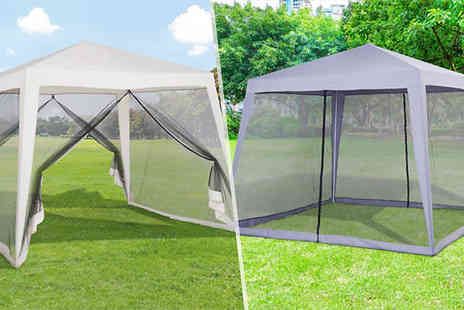 Mhstar - 3m x 3m Gazebo With Mesh Walls Choose from Two Colours - Save 36%