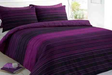 Groupon Goods Global GmbH - Pieridae Textured Stripe Duvet Cover Set in Choice of Colour and Size - Save 0%