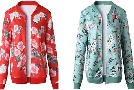 Blu Apparel - Ladies Floral Bomber Jacket Choose from Three Colours And Five Sizes - Save 35%