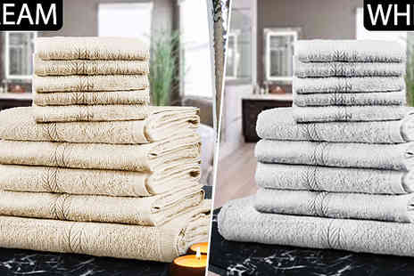 Fusion - Egyptian Cotton 10 Piece Towel Set Choose from Six Colours - Save 89%