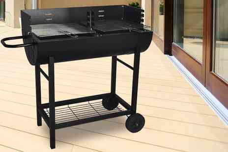 Direct 2 public - Stainless steel half drum charcoal barbecue grill choose from two sizes - Save 67%
