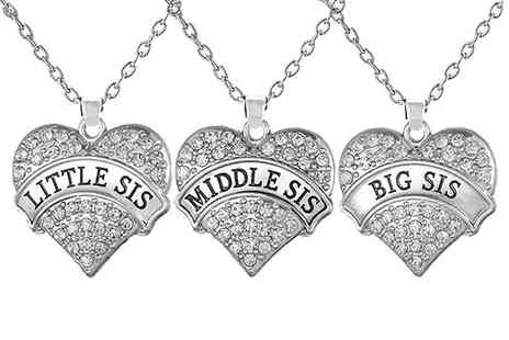 Solo Act - Crystal sister heart pendant necklace choose from three designs - Save 83%
