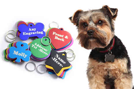 Garmsandswag - Personalised aluminium pet jewellery tag with two sided engraving choose from 10 designs in five colours - Save 80%