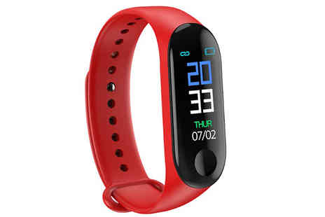 Sinostax - Smart Bracelet with 0.96 Colour Screen Choose from 3 Colours - Save 89%