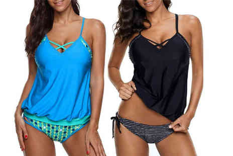 Boni Caro - Criss cross front tankini swimsuit - Save 0%