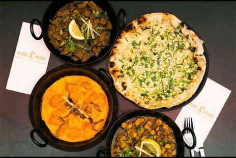 East z East - Indian meal for two including starters, mains, two rice dishes and a naan bread with a glass of wine or a bottle of beer each  - Save 66%
