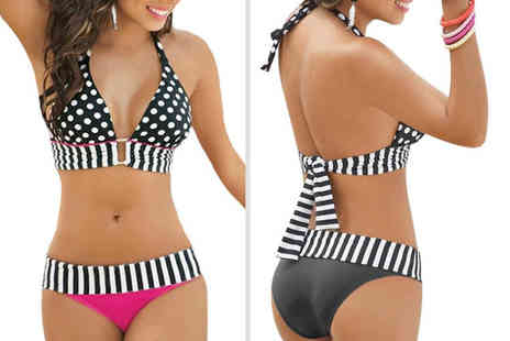 Boni Caro - Spot and stripe halter bikini choose from two colours - Save 74%