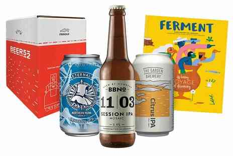 Beer52 - Craft beer hamper including a mix of ten hoppy and pale beers, Ferment magazine and a snack - Save 59%