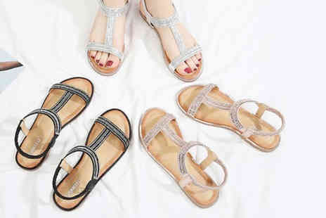 Wish Imports - Pair of strappy faux leather T bar sandals choose from three colours - Save 57%