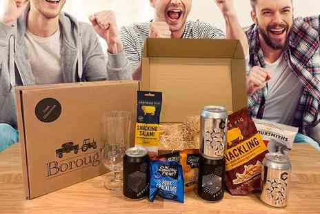 Borough Box - Fathers Day Dad Box hamper featuring four cans of beer, salted peanuts, snacking salami, crisps, crackling and a beer and ale craft glass - Save 46%
