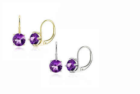 Evoked Design - Pair of amethyst earrings choose from two colours - Save 93%