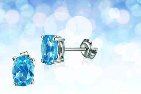 Evoked Design - Pair of blue topaz stud earrings - Save 76%