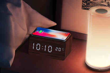J Star Direct - Voice Control Alarm Clock with Wireless Charging Choose from 2 Colours - Save 67%