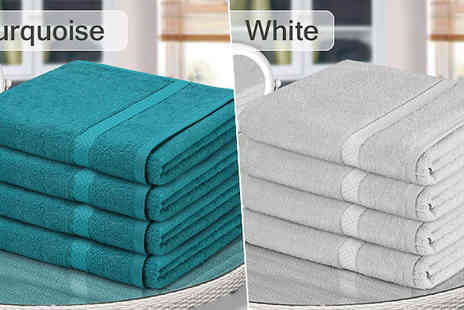 Fusion - 4 or 8 Jumbo Egyptian Cotton Bath Sheets Choose from 12 Colours - Save 84%