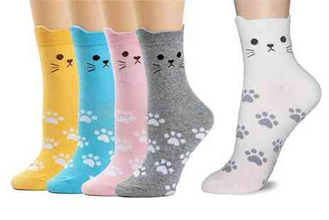 Avant Garde - Pack of five pairs of womens cat socks - Save 82%