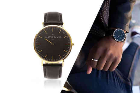 Harvey James - Unisex gold plated Harvey James watch choose from three designs - Save 80%