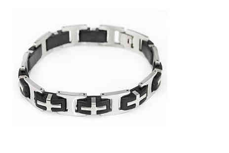 Victorias Candy - Aires PU leather and stainless steel mens bracelet - Save 85%