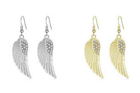 Your Ideal Gift - Pair of angel wing earrings choose from two colours - Save 86%