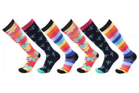 Avant Garde - Pair of patterned high knee compression socks - Save 72%