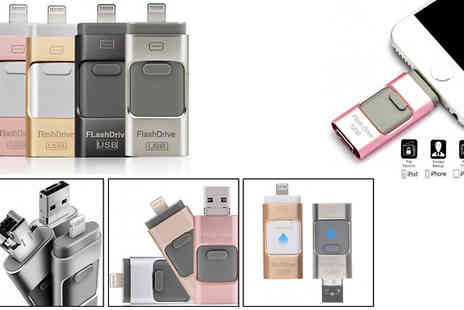Good2items - 3 In 1 Flash Drive for iPad, iPhone & iPod Touch Choose from 16GB, 32GB, 64GB or 128 GB - Save 83%