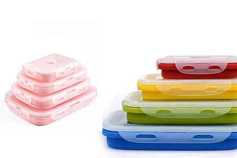 Domosecret - Four Piece Stackable Silicone Lunchboxes Choose from 3 Colours - Save 57%