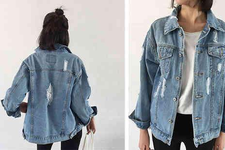 Aha Trading - Distressed Look Blue Denim Jacket Available in 3 Sizes - Save 53%
