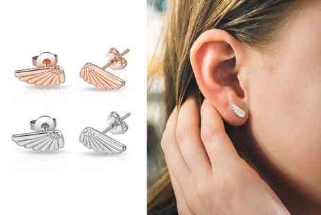 Philip Jones - Pair of angel wings stud earrings - Save 50%