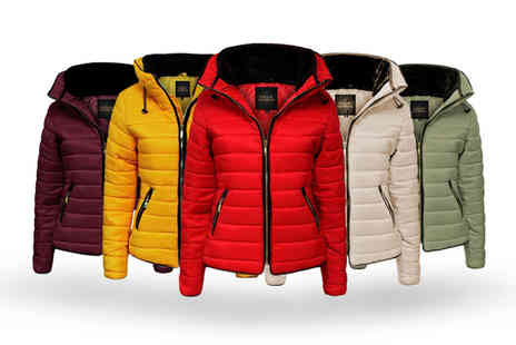 Deals Direct - Womens fur collar padded quilted jacket choose from five colours - Save 0%