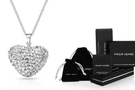 Groupon Goods Global GmbH - One or Two Philip Jones Pave Crystal Heart Necklaces - Save 0%