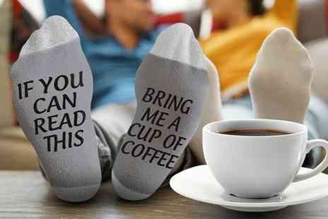 Groupon Goods Global GmbH - Up to Four Pairs of Flo Coffee Slogan Socks - Save 0%