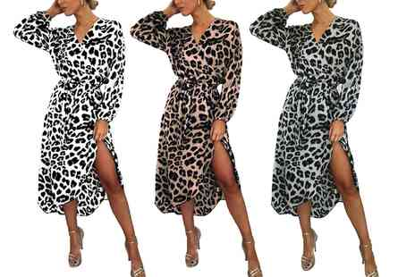 Groupon Goods Global GmbH - Leopard Print Belted Wrap Dress - Save 0%