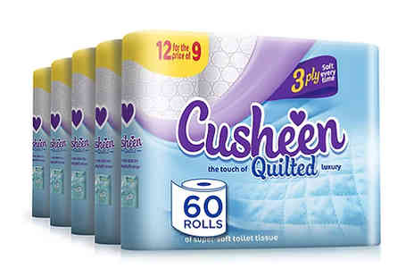 Global Merchant Support - 60 Cusheen Three Ply Scented Toilet Rolls Plus Free Household Gift - Save 44%