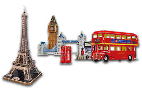 Deals Direct - 3D jigsaw puzzle choose between the Eiffel Tower and London Tour sets - Save 0%
