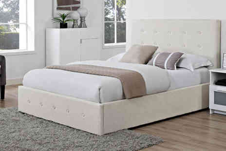 The Furniture Department. - Coco buttoned fabric bed frame or Storage bed choose from two sizes with the option to include a mattress - Save 79%