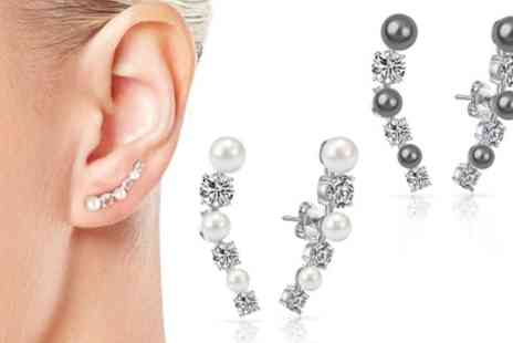 Groupon Goods Global GmbH - One, Two or Three Pairs of Philip Jones Pearl Climber Earrings with Crystals from Swarovski - Save 72%