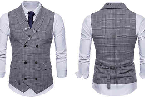 Morag Online - Mens Double Breasted Waistcoat Choose from 3 Colours - Save 44%