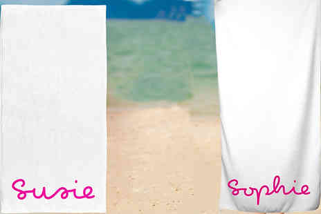 Personalised Gifts Market - Personalised Pink & White Beach Towel Choose from 2 Sizes - Save 68%