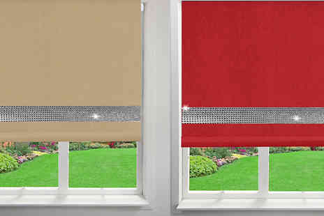 Groundlevel - Blackout Blind With Diamante Trim Choose from 6 Colours and 5 Sizes - Save 70%