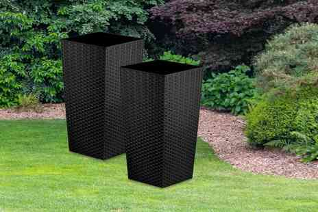 Anything 4 Home - Pair of 27 litre rattan planters choose from six colours - Save 57%