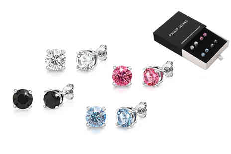 Silver Supermarket - Four pairs of Philip Jones crystal earrings - Save 64%