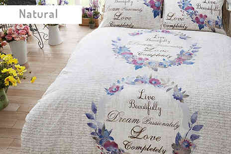 Luxury bed and warehouse - Live and Dream Duvet Set Choose from Three Colours And Two Sizes - Save 63%