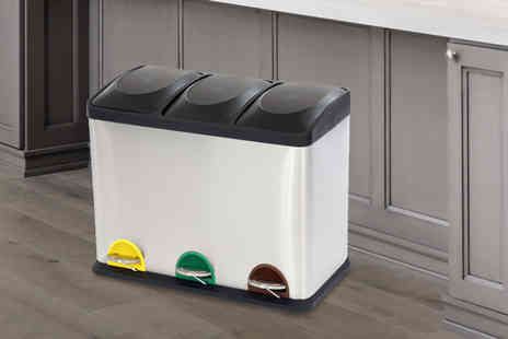 Who Needs Shops - Kitchen triple compartment pedal bin - Save 71%