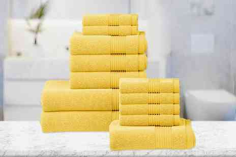 Fusion Online - Six Piece luxury cotton towel set or 12 piece towel set choose from 12 colours - Save 60%