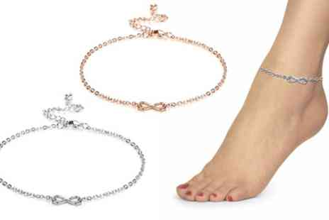 Groupon Goods Global GmbH - Philip Jones Infinity Anklets with Crystal from Swarovski - Save 72%