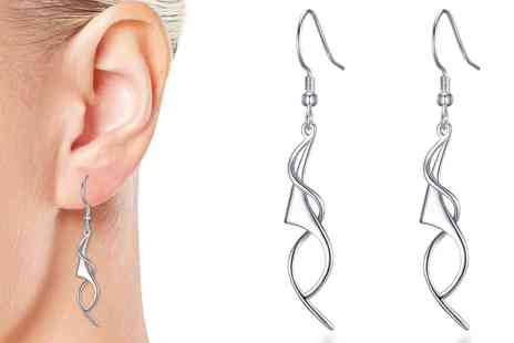 Groupon Goods Global GmbH - One or Two Pairs of Philip Jones Silver Spiral Drop Earrings - Save 0%