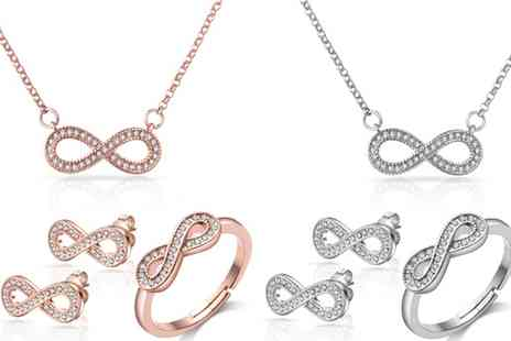 Groupon Goods Global GmbH - Philip Jones Infinity Ring, Necklace, Earrings or Set with Crystals from Swarovski - Save 0%