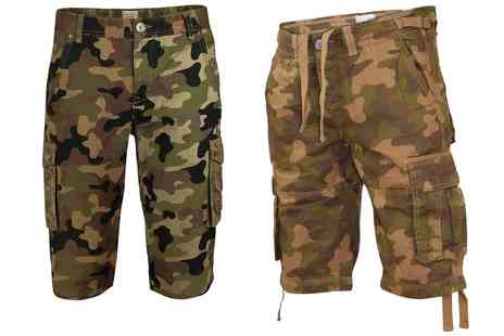 Groupon Goods Global GmbH - Mens Knee Length Washed Camouflage or Chewy Shorts - Save 0%