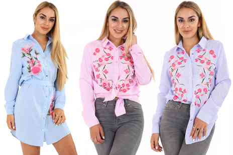 Groupon Goods Global GmbH - Womens Woven Embroidered Shirt - Save 0%