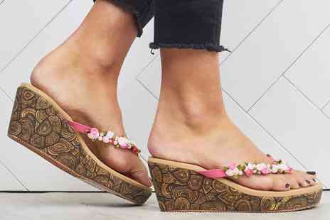 Groupon Goods Global GmbH - Shuzee Womens Low Floral Wedge Sandals - Save 0%